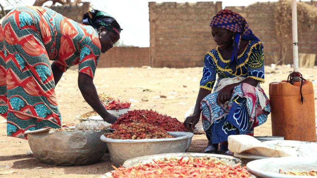 Women Sort Chili Peppers in Kenya