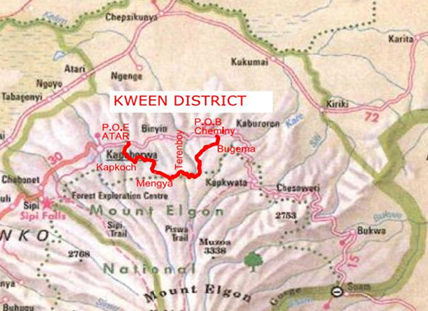A map of the Kween Road