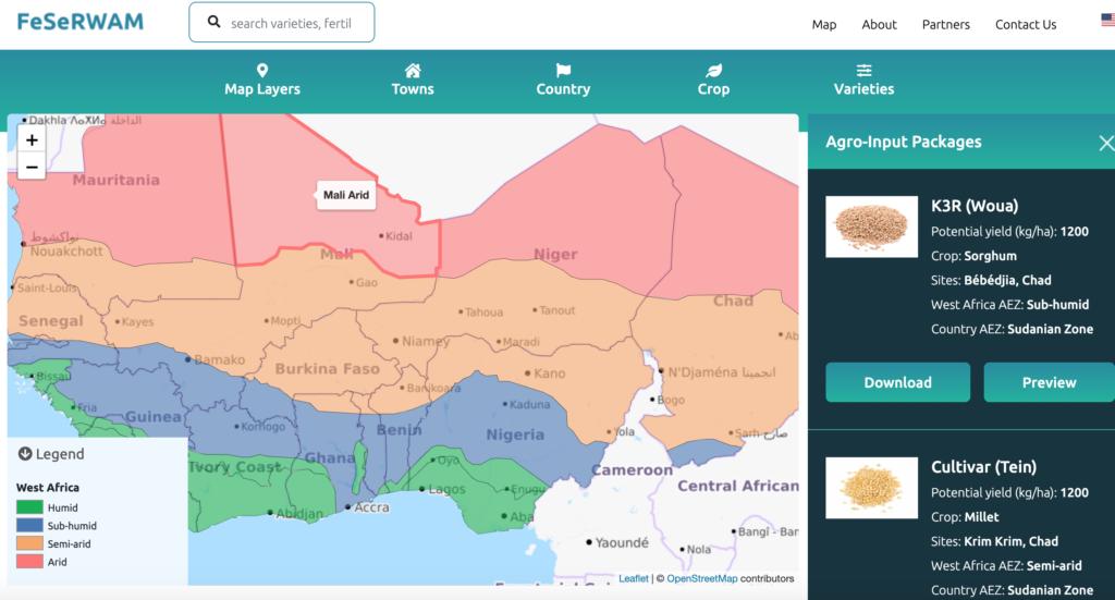 Screenshot of the FeSeRWAM Dashboard