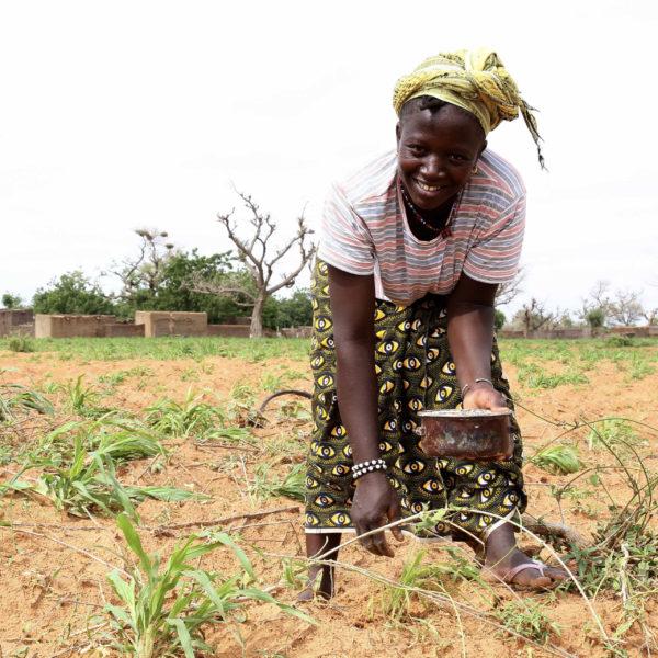 Woman with fertilizer