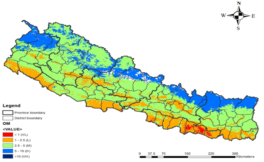 Organic matter content across different geographic regions of Nepal (prepared by Nepal Agricultural Research Council and Nepal Seed and Fertilizer Project, 2020)