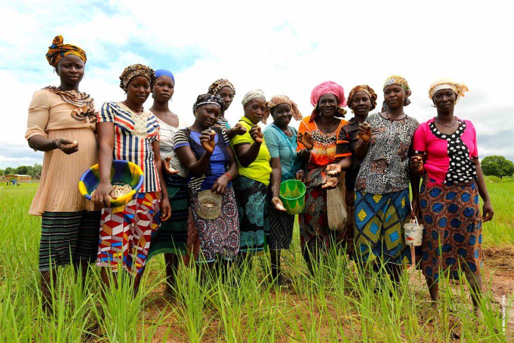 Malian Farmers hold their fertilizer